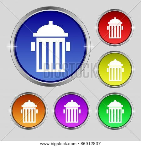 Fire Hydrant Icon Sign. Round Symbol On Bright Colourful Buttons. Vector