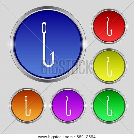 Fishing Hook Icon Sign. Round Symbol On Bright Colourful Buttons. Vector
