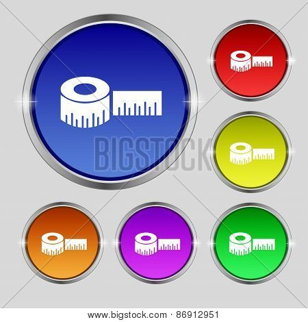 Roulette Construction Icon Sign. Round Symbol On Bright Colourful Buttons. Vector
