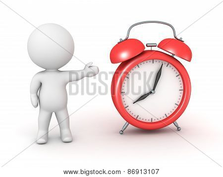 3D Character Showing Alarm Clock