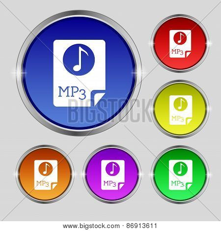 Audio, Mp3 File Icon Sign. Round Symbol On Bright Colourful Buttons. Vector