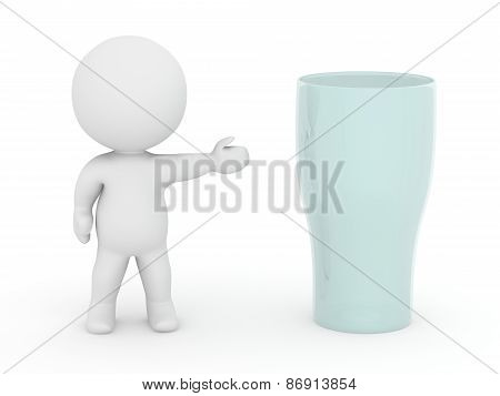 3D Character Showing Glass
