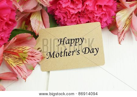 Mother's Day gift tag with flowers