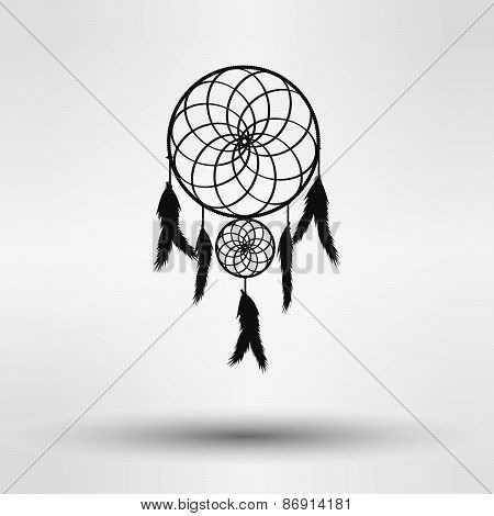 dream catcher silhouette in black color isolated on white background. vector illustration