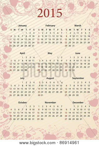 American Vector pink floral calendar 2015 with hearts, starting from Sundays