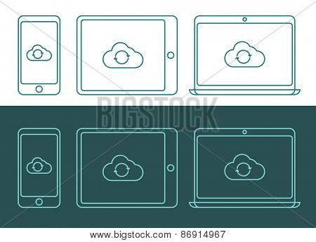 Vector illustration of linear style cloud computing icons, inverted colors