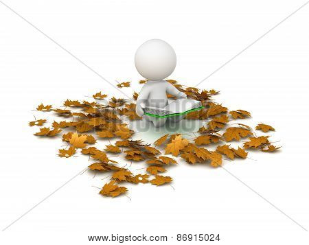 3D Character Reading Book and Autumn Leaves around him