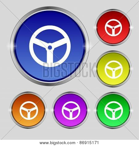 Steering Wheel Icon Sign. Round Symbol On Bright Colourful Buttons. Vector