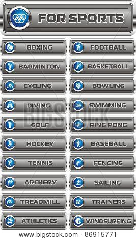 web icons, buttons on sport vector