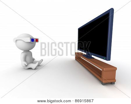 3D Character wearing 3D Glasses Watching HD TV