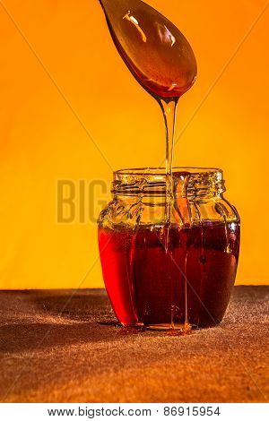 Honey Jar With Spoon And Flowing Honey,  Canvas Background