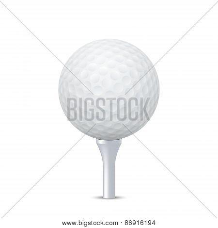 Vector Golf Ball On Tee