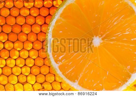 Yellow Honeycomb With Fresh Honey And Lemon