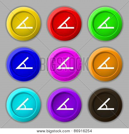 Angle 45 Degrees Icon Sign. Symbol On Nine Round Colourful Buttons. Vector