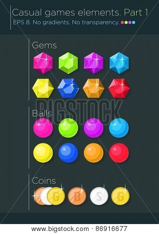 Vector set of casual games elements, gems, balls and coins