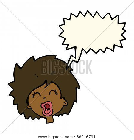 cartoon woman screaming with speech bubble