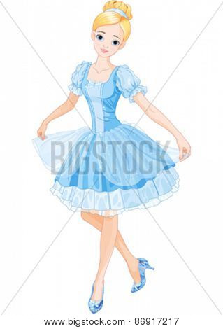 Illustration of Cinderella wearing crystal slippers