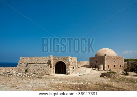 Scenic view of the historic Rethymno Venetian fortress on the island of Crete, Greece