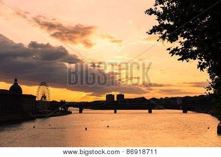 Toulouse Ferris Wheel At Sundown