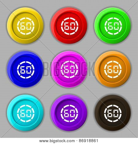 60 Second Stopwatch Icon Sign. Symbol On Nine Round Colourful Buttons. Vector