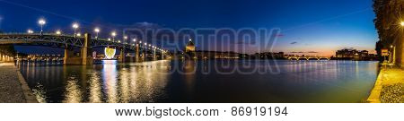 Nightly Panorama Of The Pont Saint-pierre