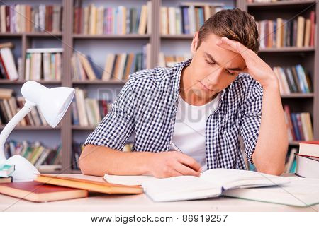 Concentrated On Studying.