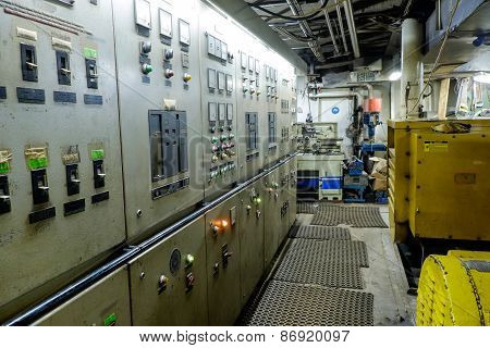 Control Room Of A Extra Large Retro Ship