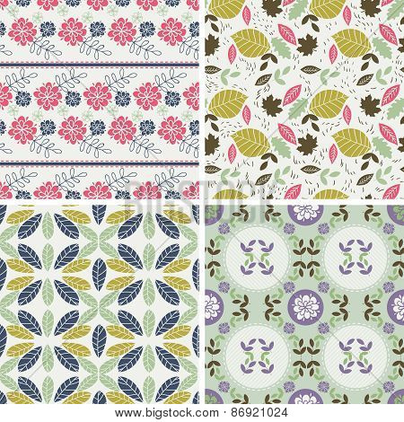 Floral Patterns And Seamless Backgrounds. Printing Onto Fabric And Paper Or Scrap Booking