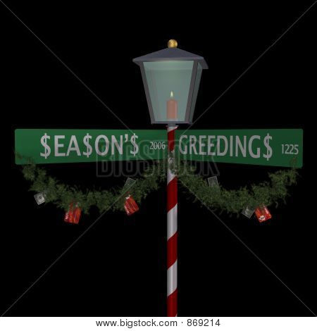 Season's Greedings Street Sign