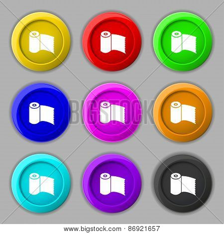 Toilet Paper, Wc Roll Icon Sign. Symbol On Nine Round Colourful Buttons. Vector