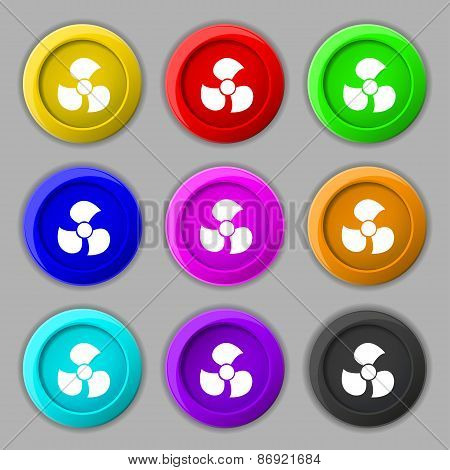 Fans, Propeller Icon Sign. Symbol On Nine Round Colourful Buttons. Vector