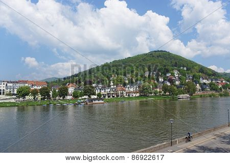 Landscape Of Quay Of Neckar River In Summer Heidelberg