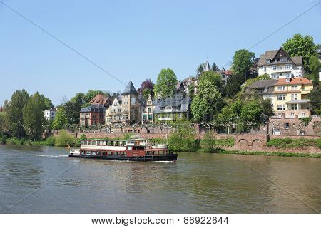 Steamer In The River In Summer Heidelberg