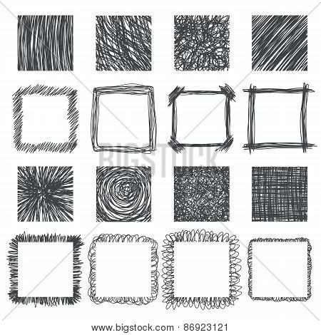 Set Of Hand Drawn Squares. Vector Design Elements. Lines Textures, Hatching, Scratch, Scribbles Of P