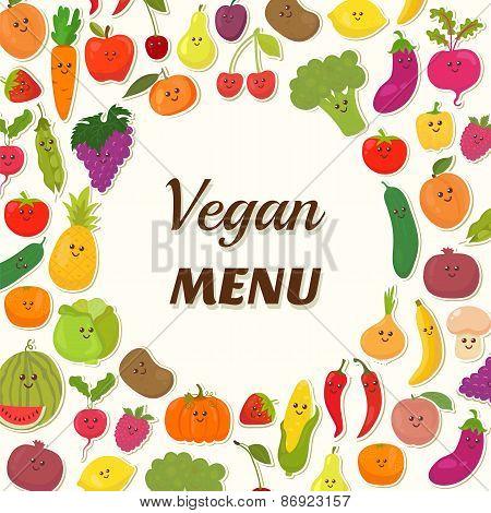 Vegan Menu Background. Vegetarian Card Design. Cute Fruits And Vegetables