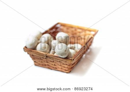 Basket With Bunch Of White Mushrooms Close Up Differential Focus