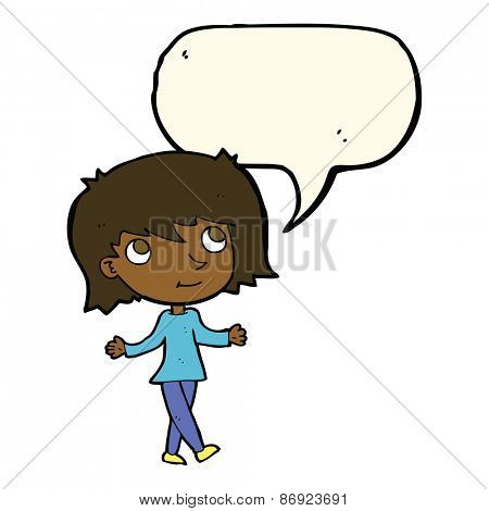 cartoon girl with no worries with speech bubble