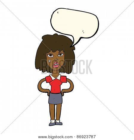 cartoon tough woman with speech bubble