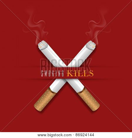 Burning cigarettes in cross shape on red background for No Smoking Day concept.