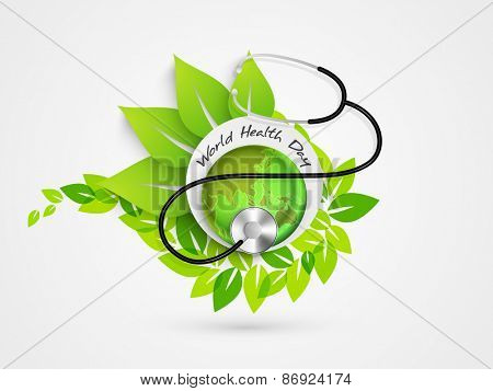 Sticker or label with green globe and stethoscope for World Health Day concept on fresh leaves background.