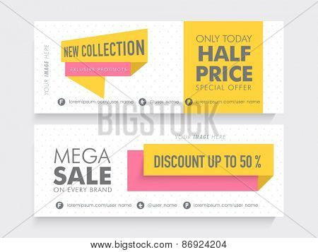 Mega Sale website header or banner set with 50% discount on new coolection.
