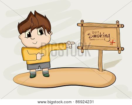 No Smoking Day concept with illustration of a little boy pointing to a wooden board to quit smoking.