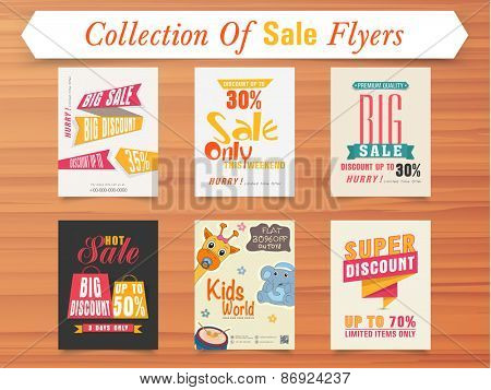 Big Sale with super discount offer for limited time, stylish poster or flyer collection on wooden background.