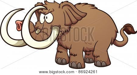 Angry cartoon mammoth. Vector clip art illustration with simple gradients. All in a single layer.