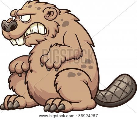 Prehistoric monster beaver. Vector clip art illustration with simple gradients. All in a single layer.
