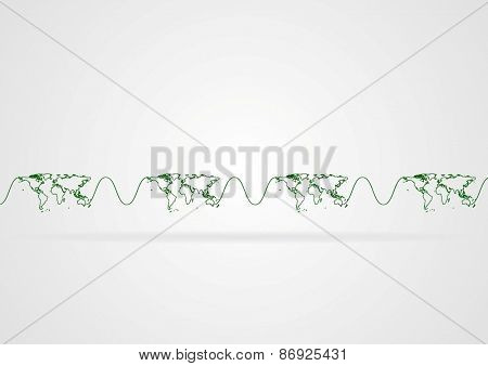 Abstract minimal corporate background with world map. Vector design