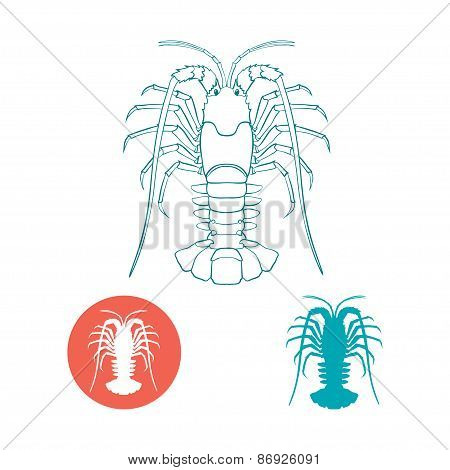 Crayfish silhouette and flat icon