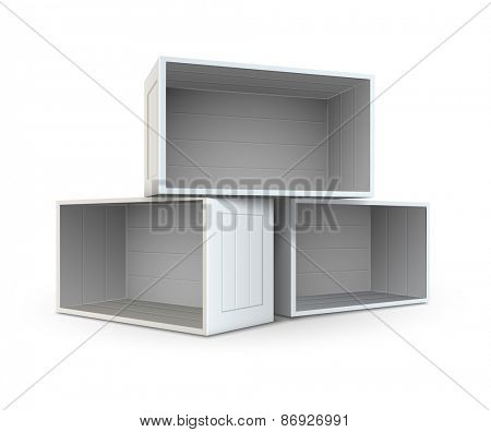 Open boxes. Eps10 vector illustration, isolated on white background