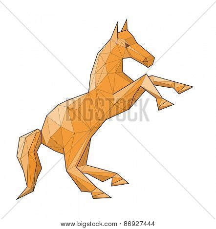 Horse. Low polygon linear vector illustration
