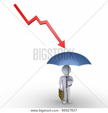 Businessman Protection By Umbrella